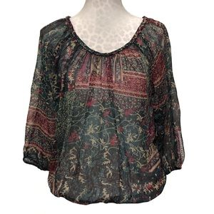 Lucky Brand Printed Sheer Blouse